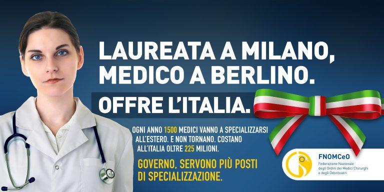 """""""Offre l'Italia"""": al via la campagna FNOMCeO sulla fuga dei medici all'estero e la carenza di specialisti"""