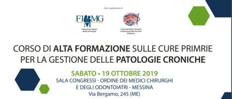 Corso di alta formazione sulle cure primarie per la gestione delle patologie croniche, il 19 ottobre a Messina