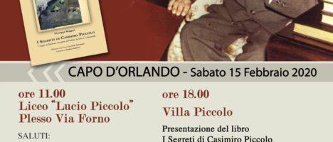 """Presentazione del libro di Giuseppe Ruggeri """"I segreti di Casimiro Piccolo"""" il 15 febbraio a Capo d'Orlando"""