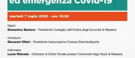 """Evento formativo""""Responsabilità medica ed emergenza Covid – 19″ domani 7 Luglio ore 15.30"""