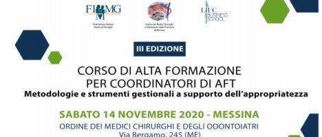 """Terza edizione del corso di alta formazione  per coordinatori di AFT """"Metodologie e strumenti gestionali dell'appropriatezza"""" il 14 novembre all'Ordine dei Medici"""