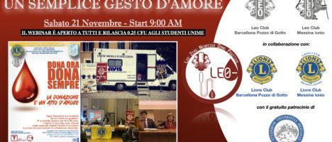 """Il 21 novembre convegno telematico Leo Clubs """"La donazione di sangue: un semplice gesto d'amore"""""""