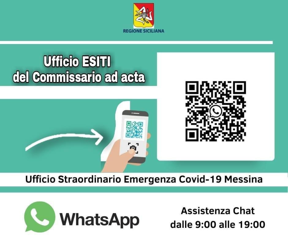 ASP Messina, attivo il nuovo servizio di assistenza su whatsapp per conoscere l'esito dei tamponi