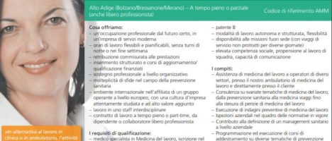 Trentino Alto Adige ricerca specialisti in medicina del Lavoro